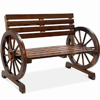 Best Choice Products 2-Person Wooden Wagon Wheel Bench for
