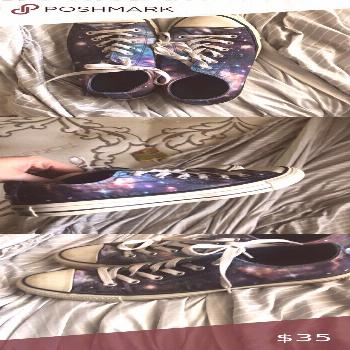 Converse galaxy worn once or twice Galaxy converse Converse Shoes Sneakers