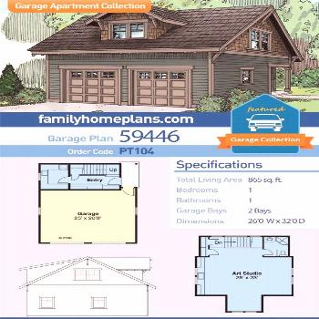 Two Car Garage Art Studio Plan with Bathroom and Laundry Room - Craftsman Style Garage home plans.