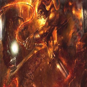 video game screenshot, taurus monster with flaming whip The Lord of the Rings digital art fan art f